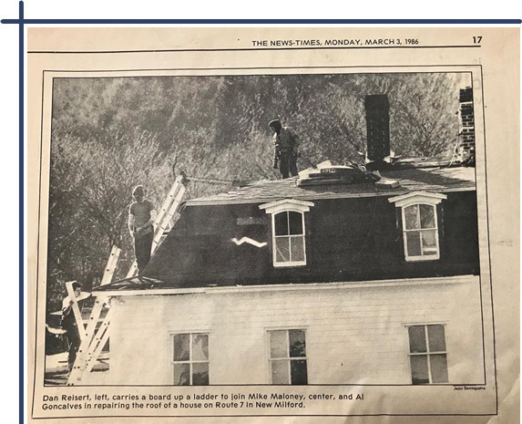 Alan has been walking roofs for over 30 years. This picture is from our hometown newspaper, The News-Times, from March 1986.